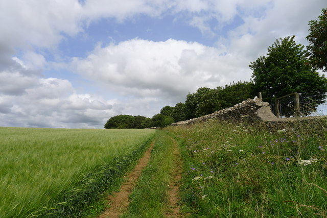 The Cotswold Way by the boundary of Dyrham Park