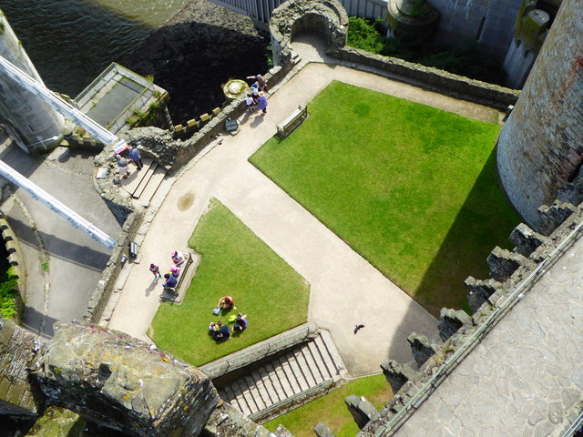 Looking down on the East Barbican of Conwy Castle from the Chapel Tower