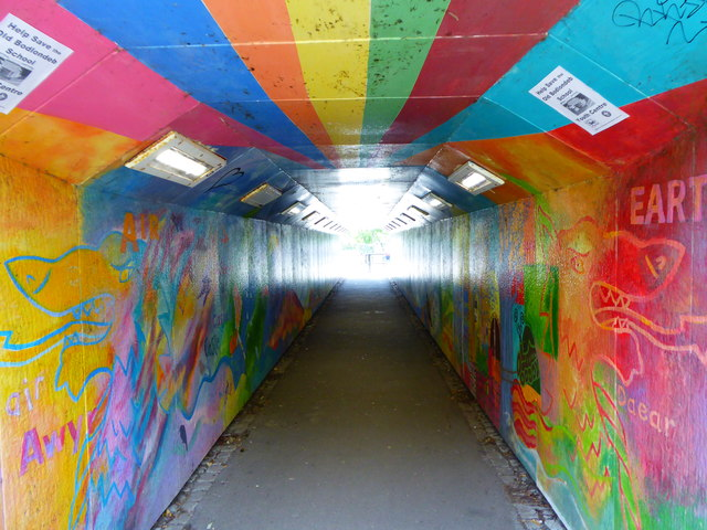 Looking south through the pedestrian subway