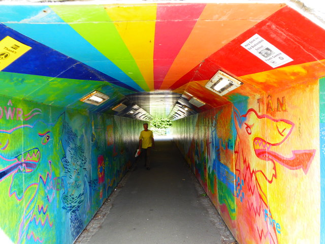 Looking north through the pedestrian subway