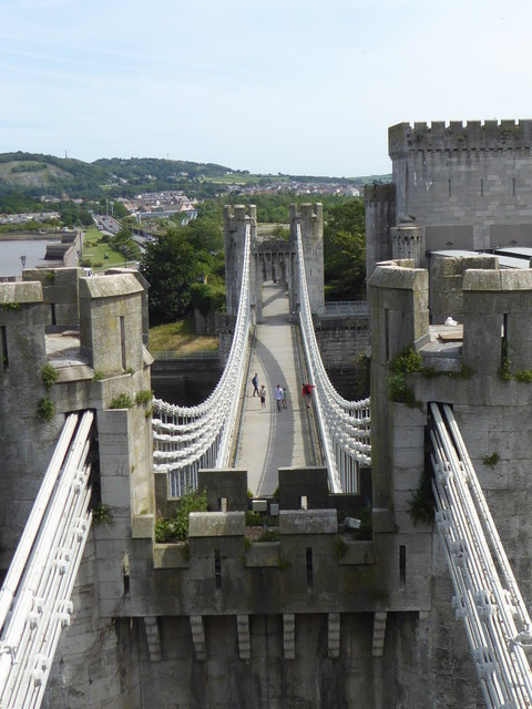Thomas Telford's suspension bridge seen from Conwy Castle