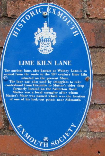 Lime Kiln Lane blue plaque, Exmouth
