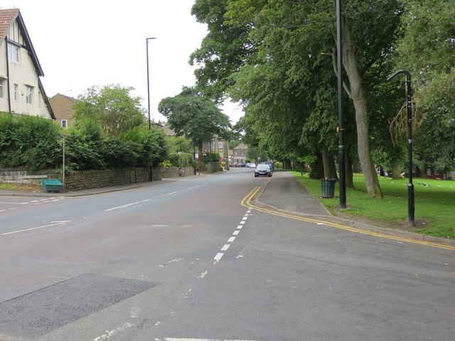 Harrogate Road (B6152) in Rawdon at its junction with Quakers Lane
