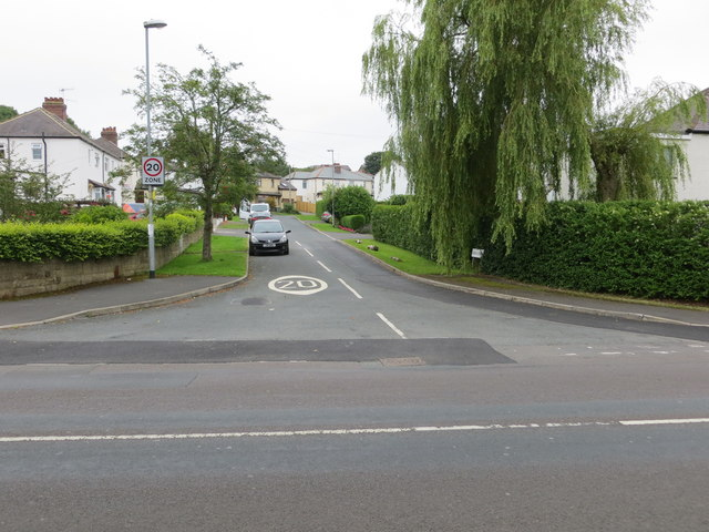Canada Drive in Rawdon at its junction with Harrogate Road (B6152)