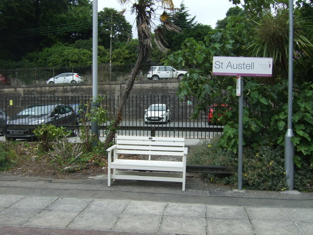 Bench and station sign, St Austell Railway Station