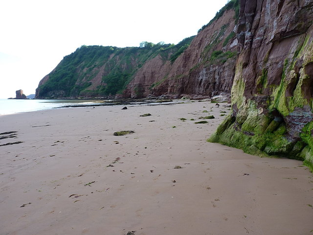 Sandy beach and cliffs to the west of Sidmouth