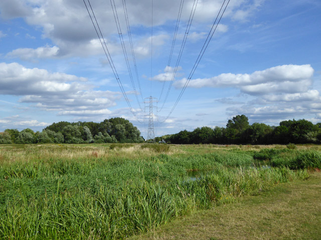Power line across Staines Moor