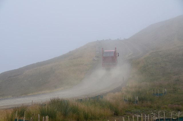 Skip lorry in the hills