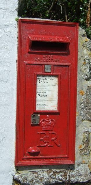 Elizabeth II postbox on Penmenner Road, Lizard