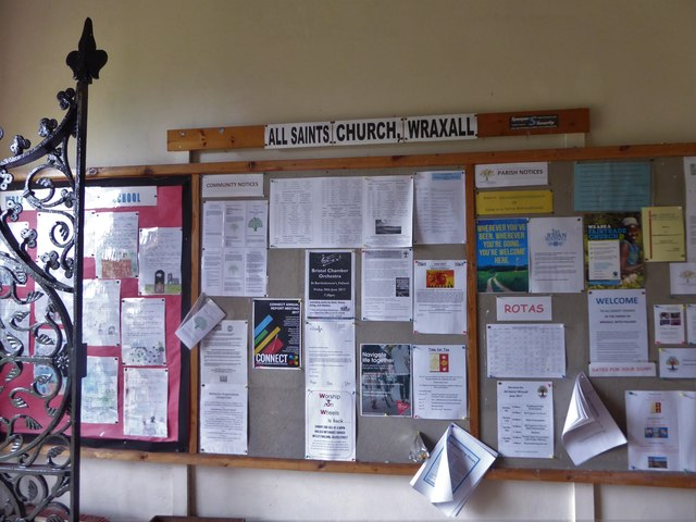 All Saints, Wraxall: porch notice board