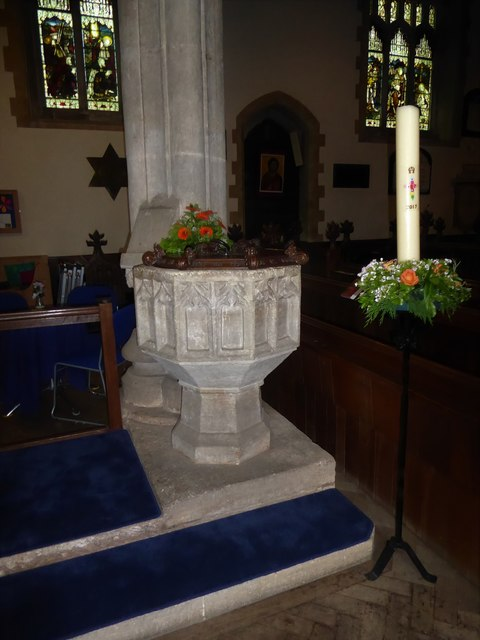 All Saints, Wraxall: font
