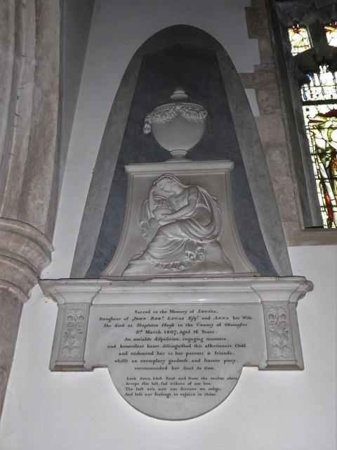 All Saints, Wraxall: memorial (f)