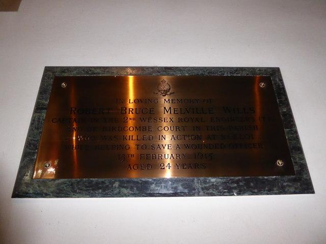 All Saints, Wraxall: memorial (j)