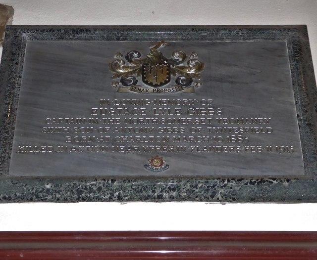 All Saints, Wraxall: memorial (u)
