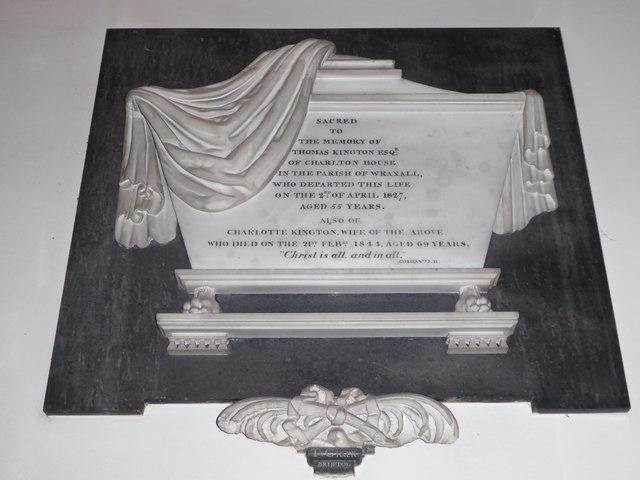 All Saints, Wraxall: memorial (x)