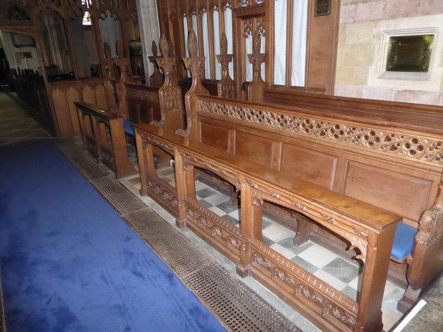 All Saints, Wraxall: choir stalls