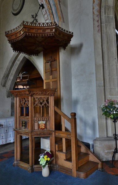 Purton, St. Mary's Church: c19th oak pulpit with tester