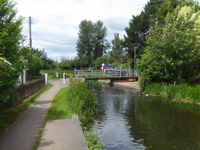 Swing bridge at Bathpool over Bridgwater and Taunton Canal