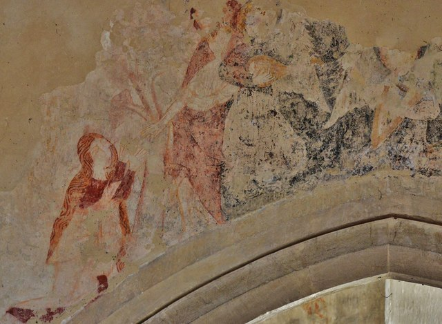 Purton, St. Mary's Church: Medieval Judgement scene over the transept arch in the south aisle 2