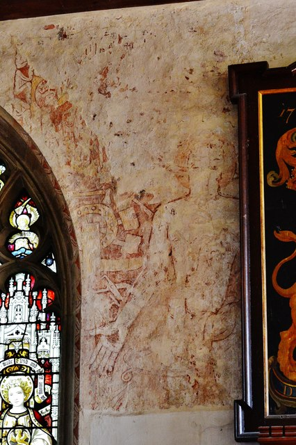 Purton, St. Mary's Church: Rare medieval Christ of the Trades wall painting 1