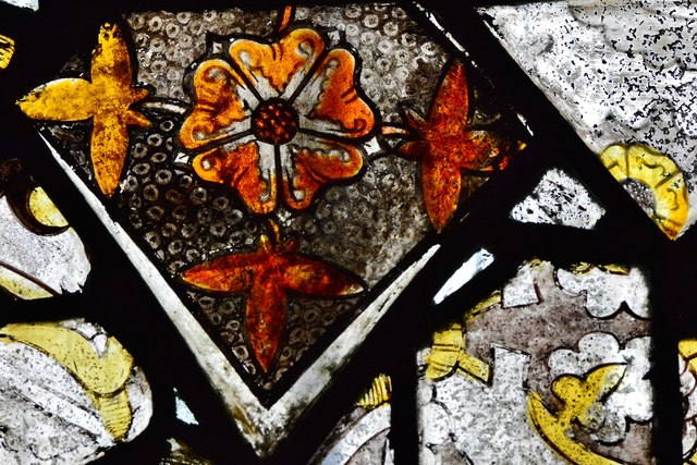 Purton, St. Mary's Church: c14th glass fragments in the south transept window 1