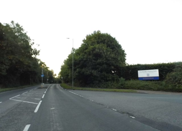 Harpenden Road at the entrance to Woolam's Playing Fields