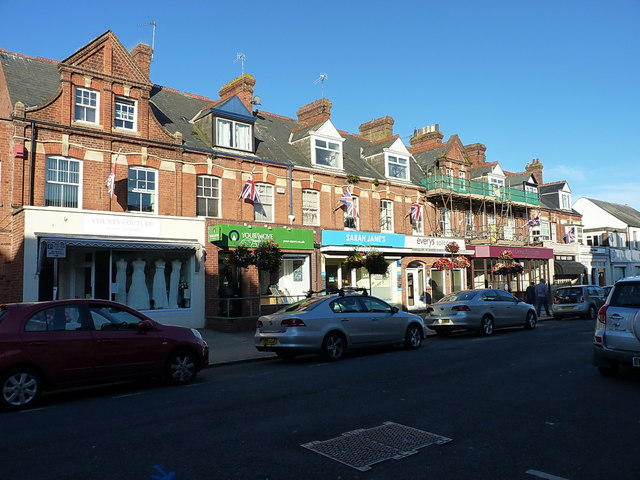 Terrace of shops on Sidmouth High Street