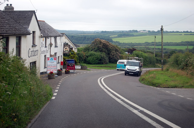 A39 passing The West Country Inn