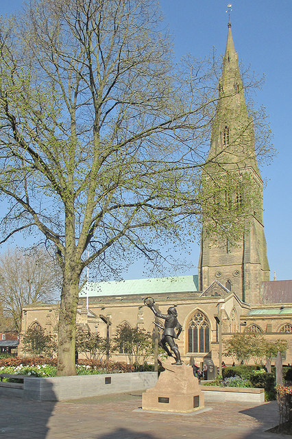 Leicester Cathedral and the statue of Richard III