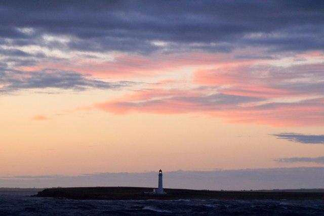 Auskerry lighthouse at dusk
