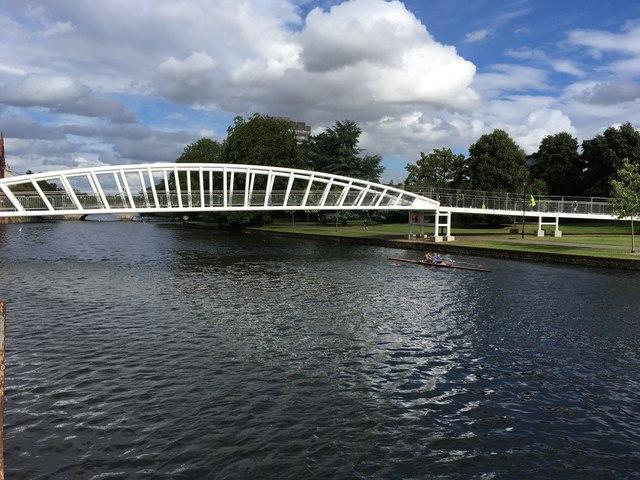 New footbridge to the Riverside North development with oarsmen