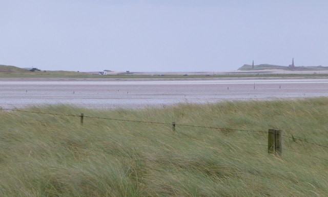 Looking over the dunes behind Goswick Sands