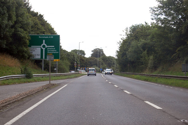 A39 approaching roundabout