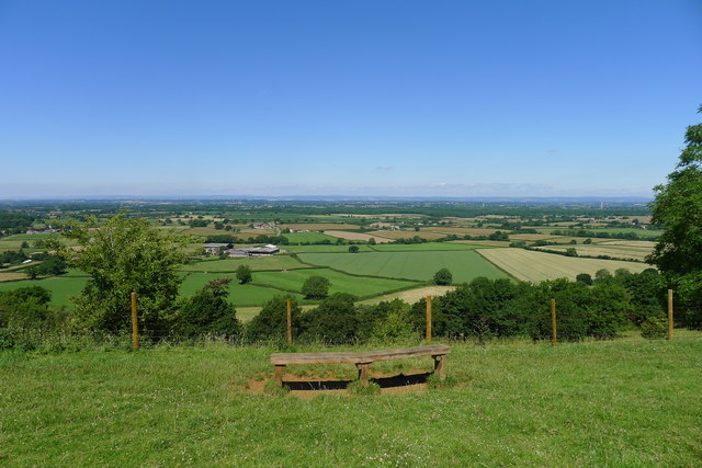 Seat with a view from the Cotswold escarpment