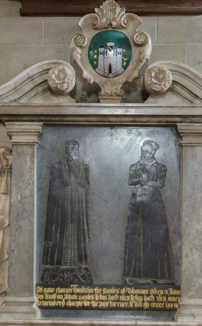 Brass to Thomas Oken & wife, St Mary's church, Warwick
