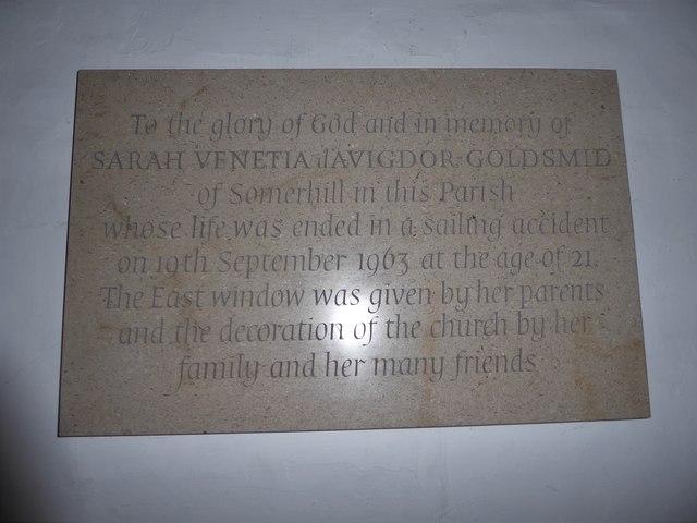 All Saints, Tudeley: memorial (a)