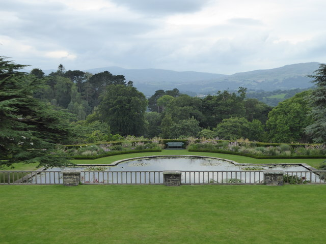 Terrace and ornamental pond at Bodnant Garden