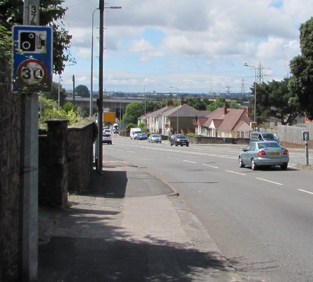 Rumney Hill speed camera and 30 speed limit sign, Cardiff