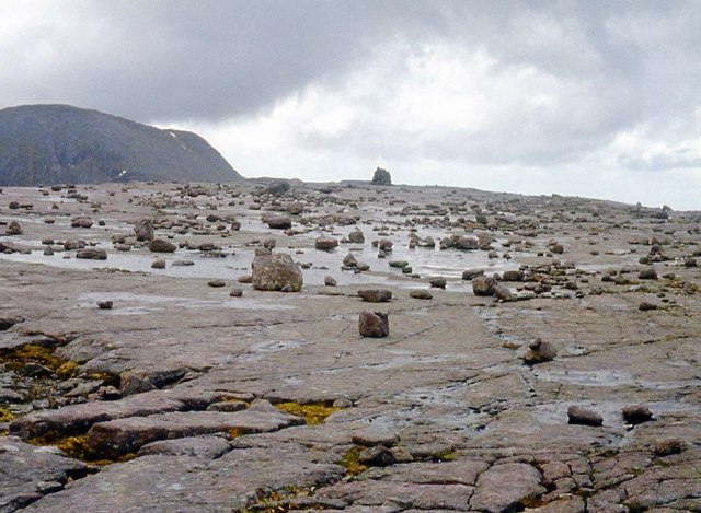 A table of Torridonian sandstone caps Beinn a' Chearcaill