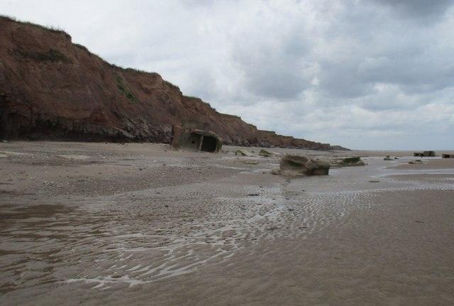 Coastal defences on the beach below Ringborough Farm