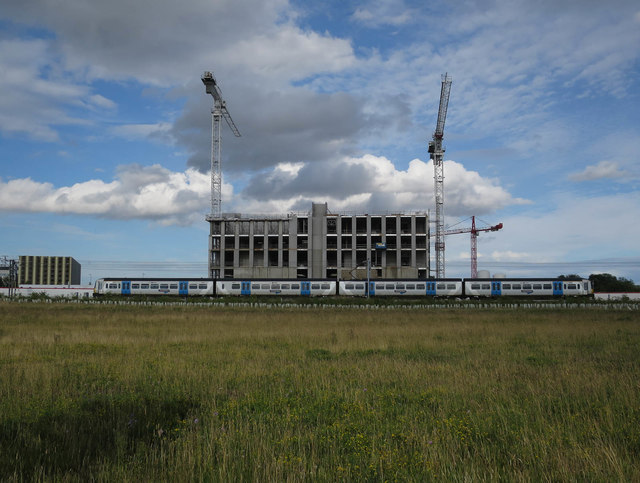 Train and new build south of Addenbrooke's