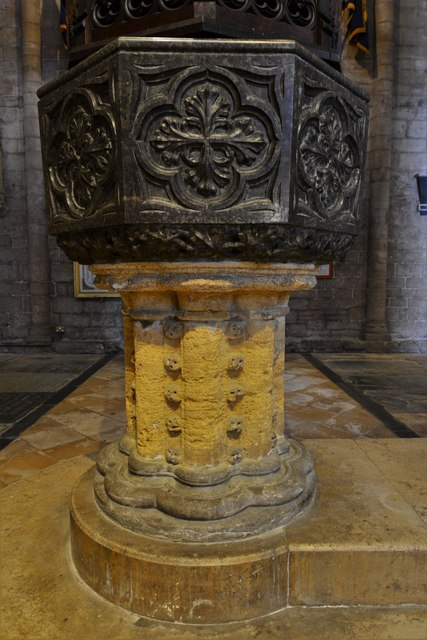 Tewkesbury Abbey: The font 1