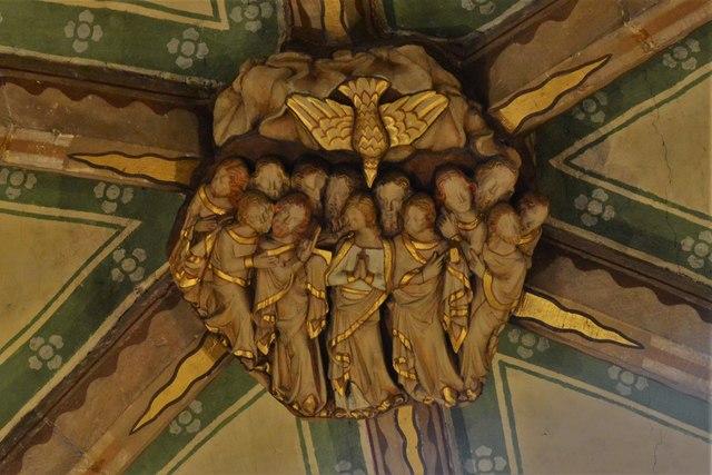Tewkesbury Abbey, nave lierne vault boss: 'Pentecost'