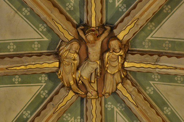 Tewkesbury Abbey, nave lierne vault boss: 'The Crucifixion'