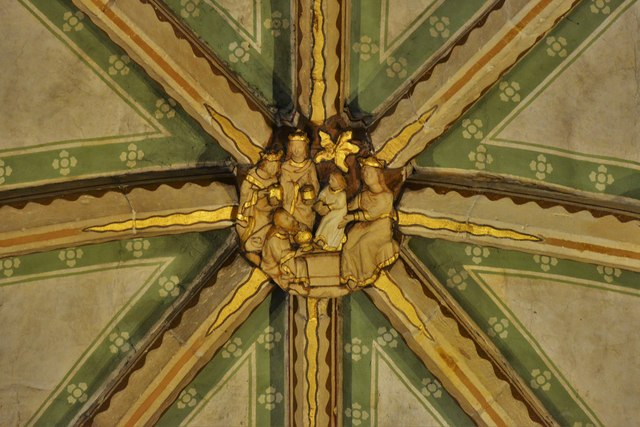 Tewkesbury Abbey, nave lierne vault boss: 'The Adoration of the Magi'