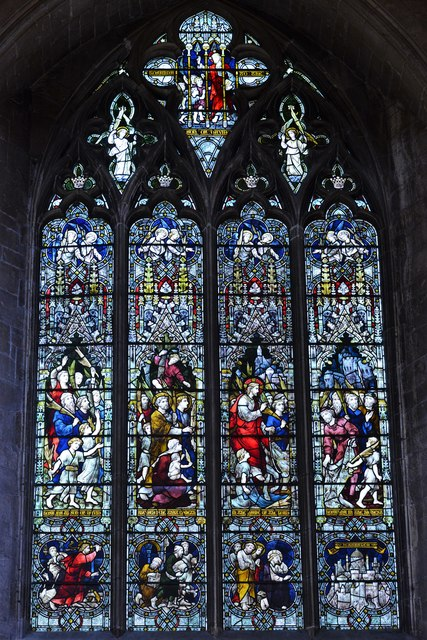 Tewkesbury Abbey, nave north aisle window: 'The Entry into Jerusalem'