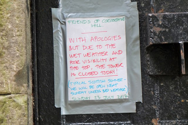 Notice on the door, Corstorphine Hill Tower