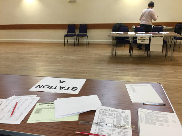 Leek Wootton village hall arranged as a double polling station