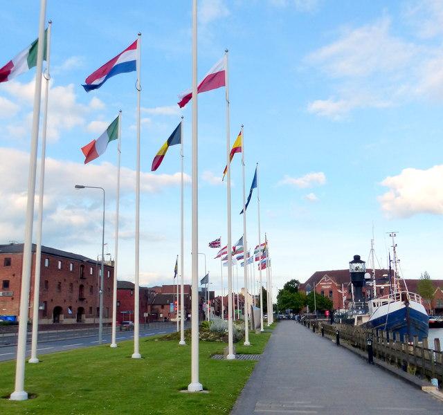Flags next to the Humber Dock Marina