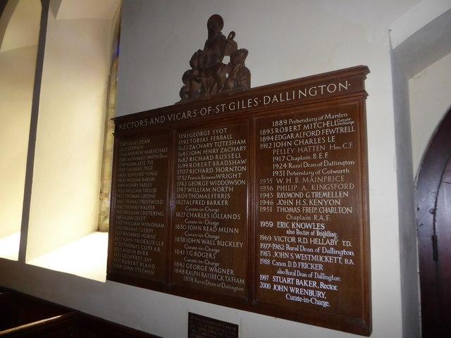 St Giles, Dallington: incumbency board